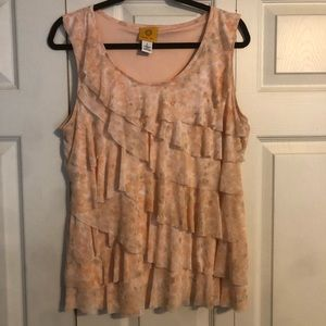RUBY RD Large Peach White Tiered Tank Top Blouse